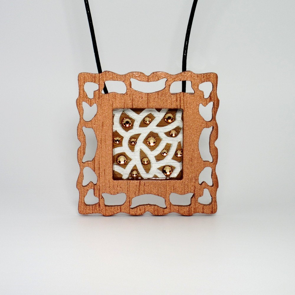 Laser Engraved Art Picture Pendant Necklace - Organic Cell Series