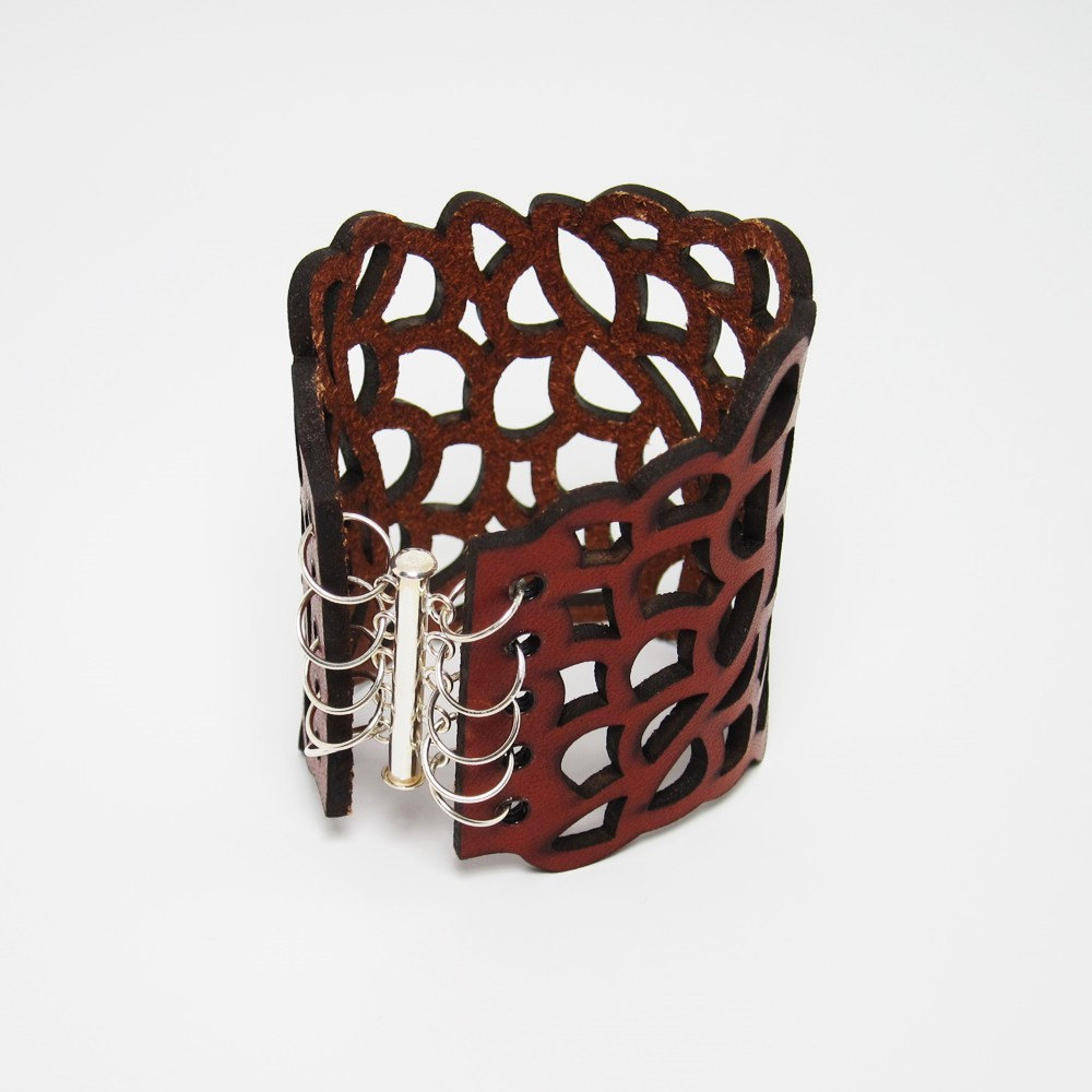 Laser Cut Leather Bracelet, XS to S Size - Organic Cell Series