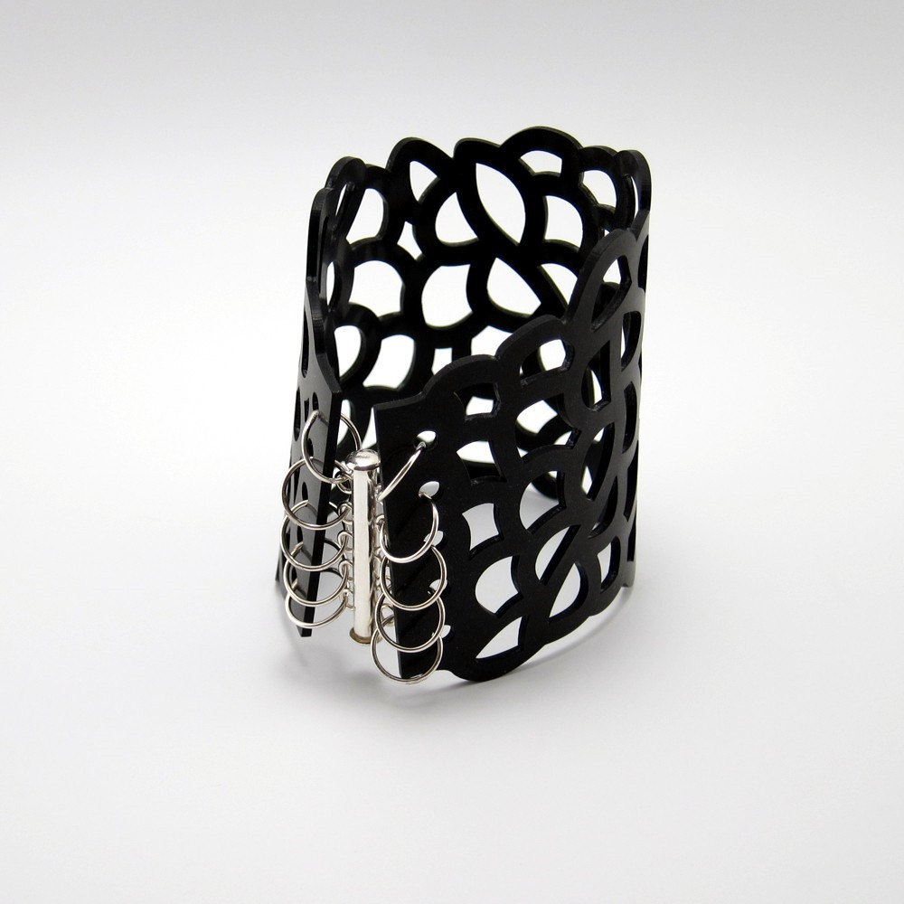 Laser Cut Silicone Rubber Bracelet, S to M Size - Organic Cell Series