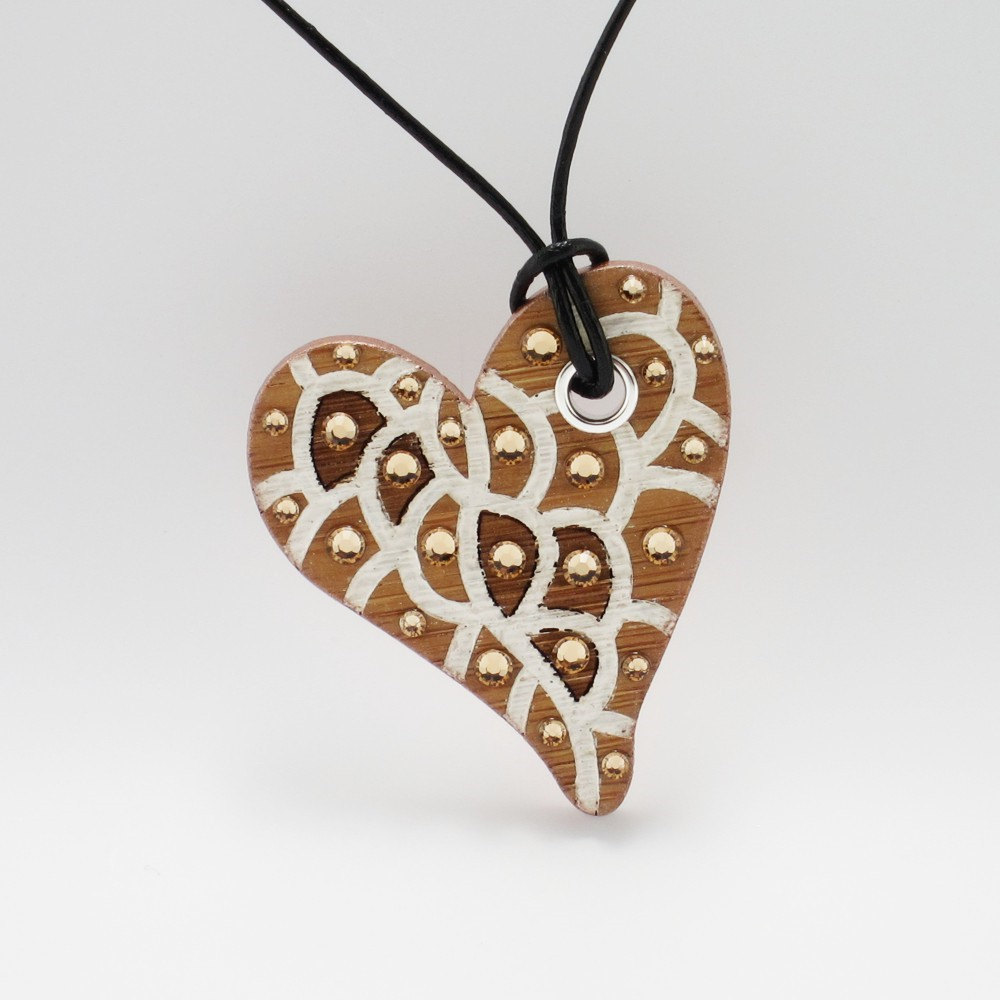 Laser Engraved Heart Necklace - Organic Cell Series