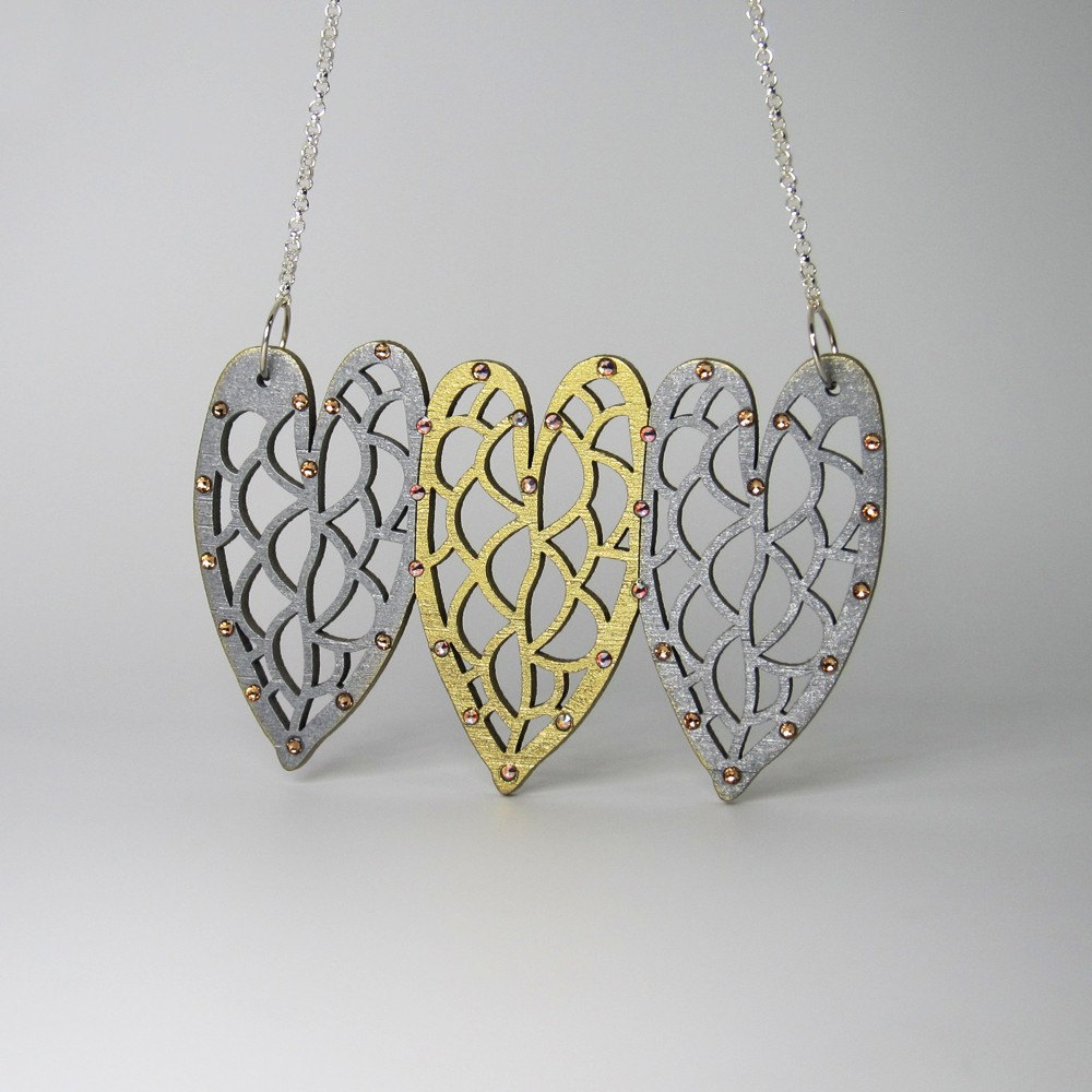 18K Gold and Industrial Steel Color Laser Cut Leaf Necklace - Organic Cell Series